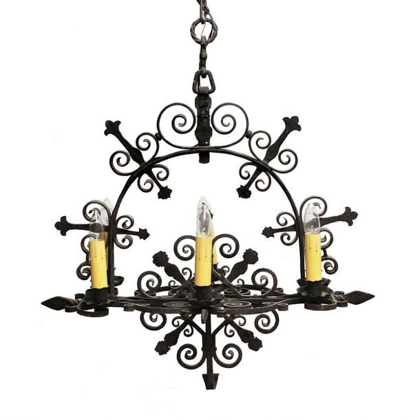 Chandeliers - Antique Colonial Forged Iron 6 Light Chandelier