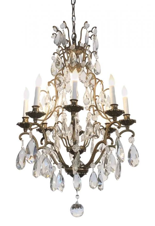 Chandeliers - Antique Crystal & Bronze French 8 Arm Chandelier