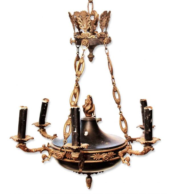 Chandeliers - Antique Empire Bronze Torche 6 Light Chandelier