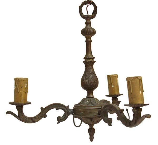 Chandeliers - Antique French 3 Arm Brass Chandelier