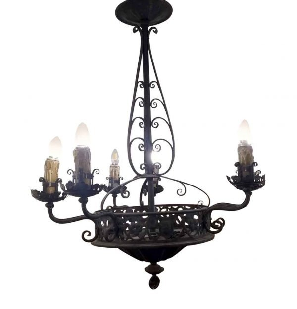 Chandeliers - Antique French 6 Arm Wrought Iron Chandelier