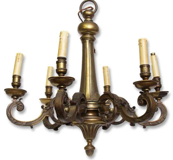 Chandeliers - Antique French 6 Light Heavy Bronze Chandelier