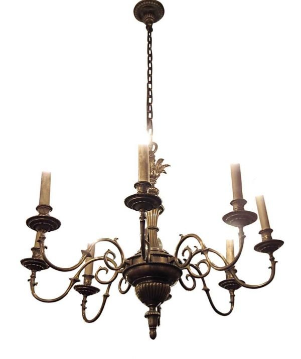 Chandeliers - Antique French 8 Arm Bronze Chandelier