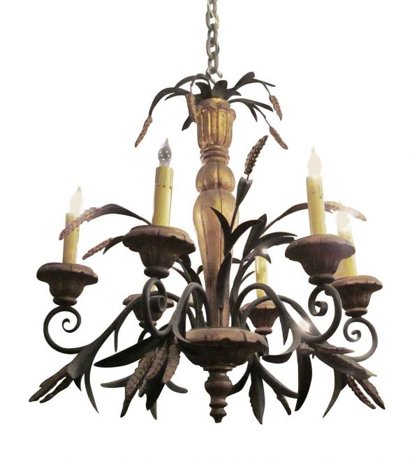 Chandeliers - Antique Iron Gold Painted 6 Arm French Chandelier