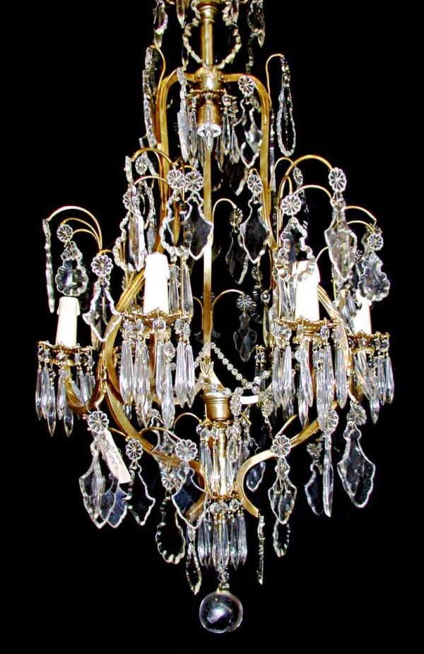 Chandeliers - Antique Italian Multi Tiered 6 Arm Crystal Chandelier