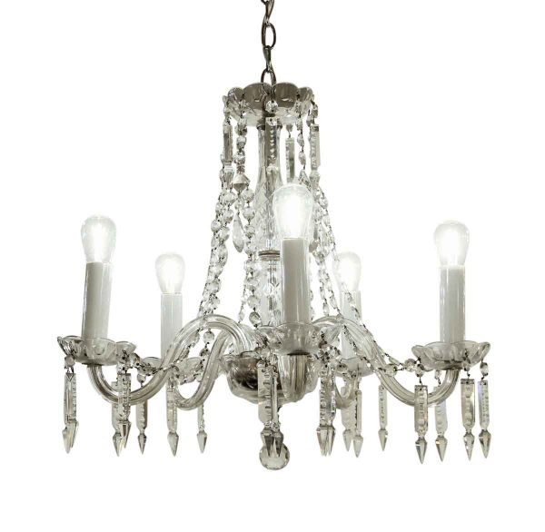 Chandeliers - Antique Traditional 5 Arm Crystal Chandelier