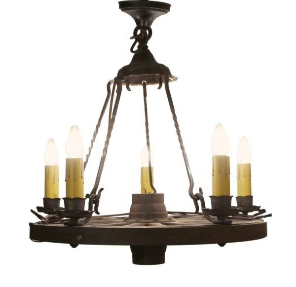 Chandeliers - Antique Wood & Iron 5 Arm Wagon Wheel Chandelier