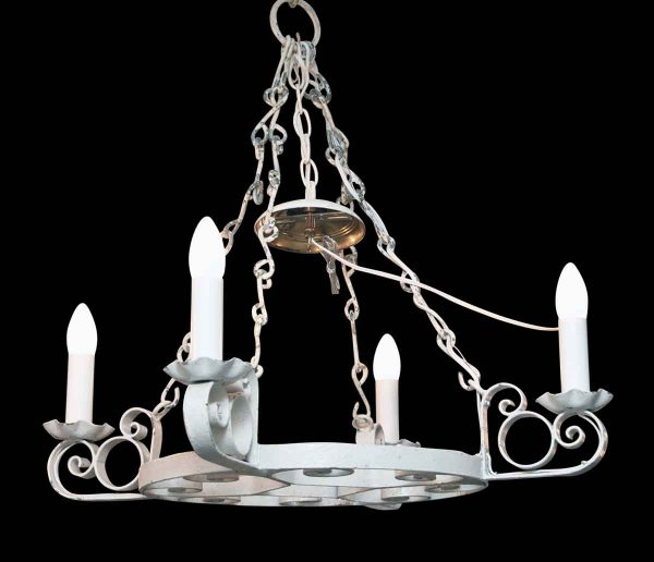Chandeliers - Arts & Crafts White Wrought Iron 4 Arm Chandelier