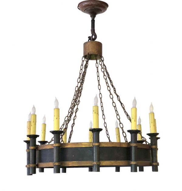 Chandeliers - Colonial Black & Gold Iron Chandelier with 12 Arms