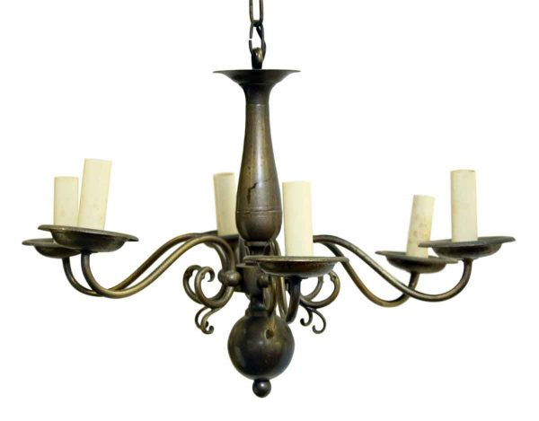 Chandeliers - Colonial Style 6 Arm Pewter Finish Chandelier