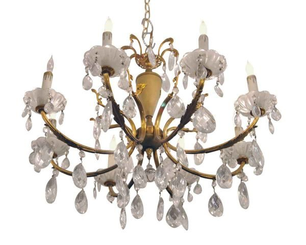 Chandeliers - French 8 Arm Crystal Chandelier with Gold Gilt Details