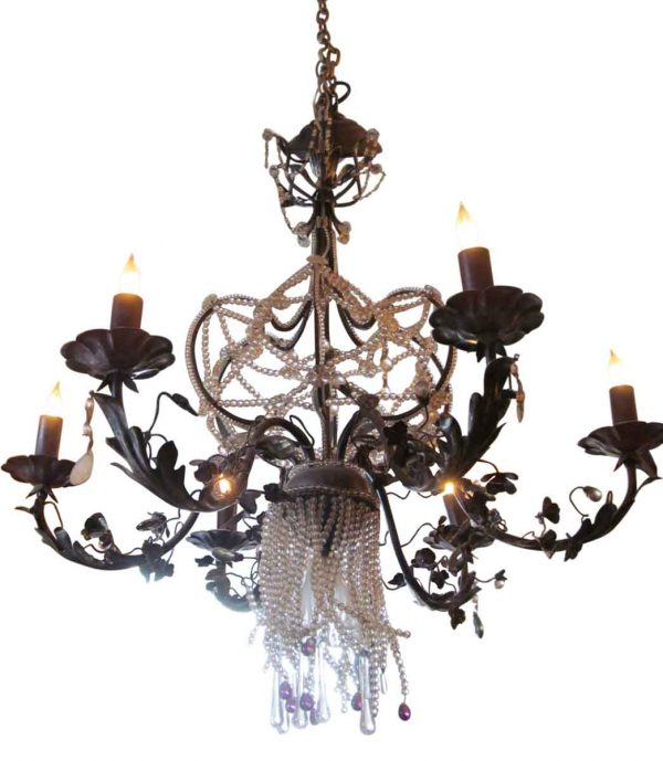 Chandeliers - French Black Metal Beaded Chandelier with 5 Arms