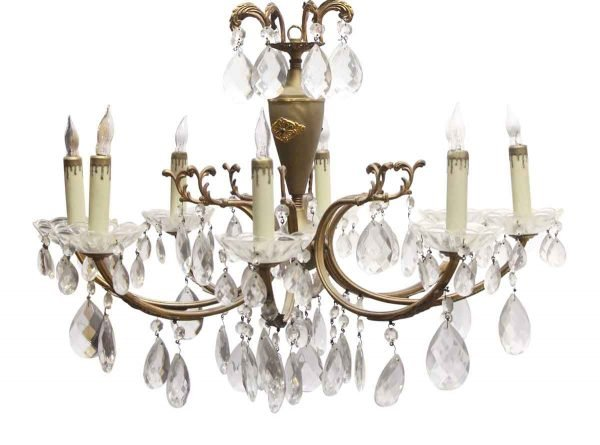 Chandeliers - French Crystal & Brass 8 Arm Chandelier