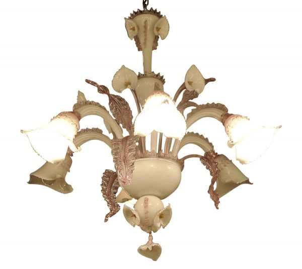 Chandeliers - French Pink & White 5 Arm Murano Lily Chandelier