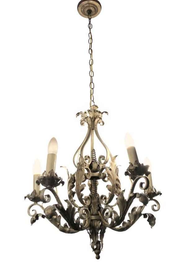 Chandeliers - French Wrought Iron 5 Arm Green Painted Chandelier