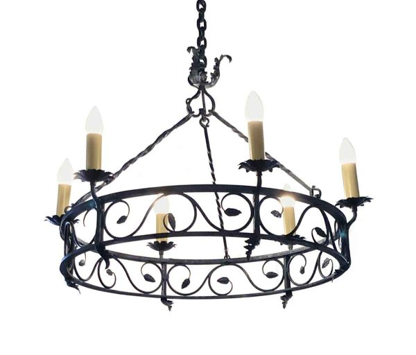 Chandeliers - French  Wrought Iron 6 Light Drum Chandelier