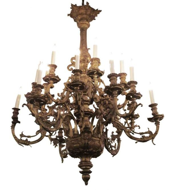 Chandeliers - Grand 18 Arm Antique Gilded French Bronze Chandelier