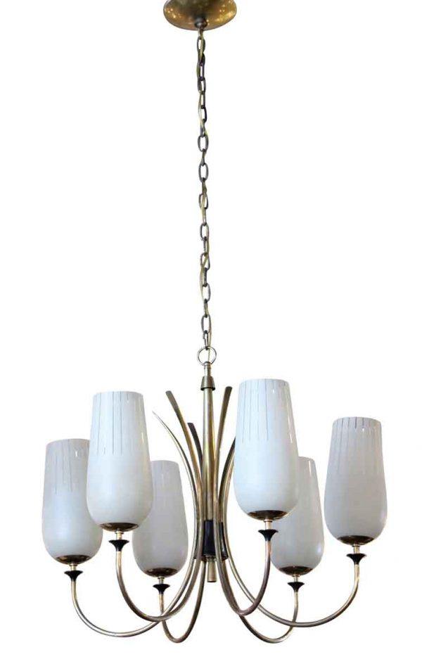 Chandeliers - Mid Century Chandelier with 6 Shaded Lights
