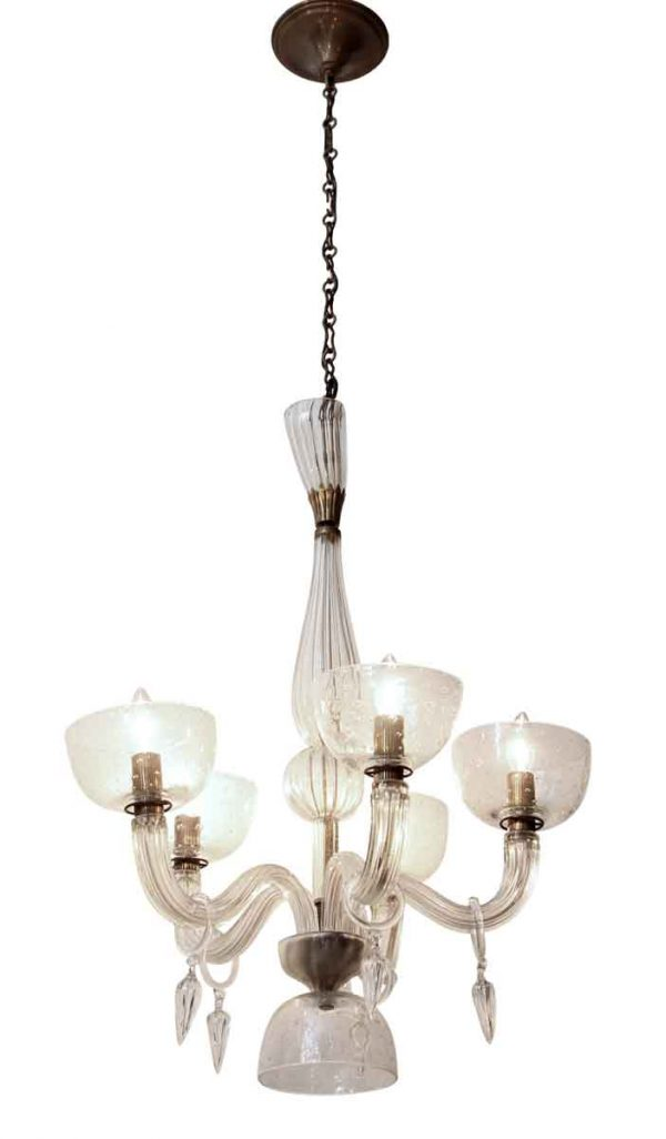 Chandeliers - Mid Century Modern Seguso Blown Glass 5 Arm Chandelier