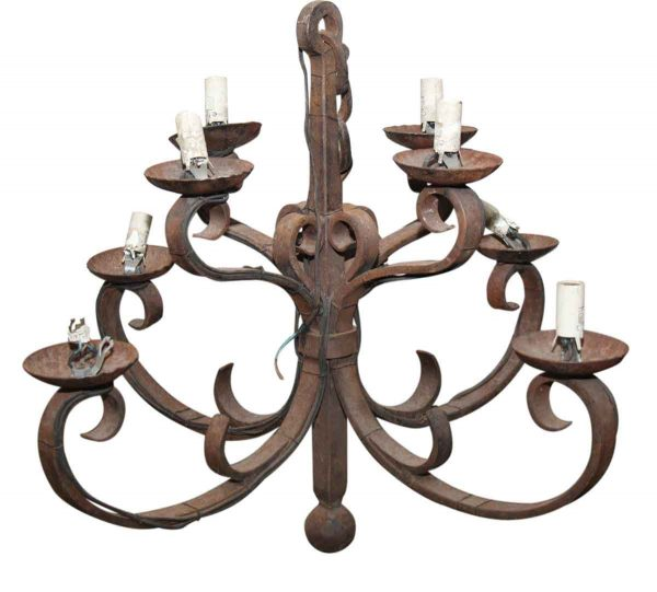 Chandeliers - Old French Wrought Iron 8 Light Chandelier