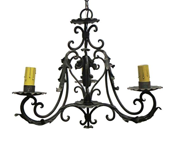 Chandeliers - Petite Arts & Crafts 3 Arm Wrought Iron Chandelier