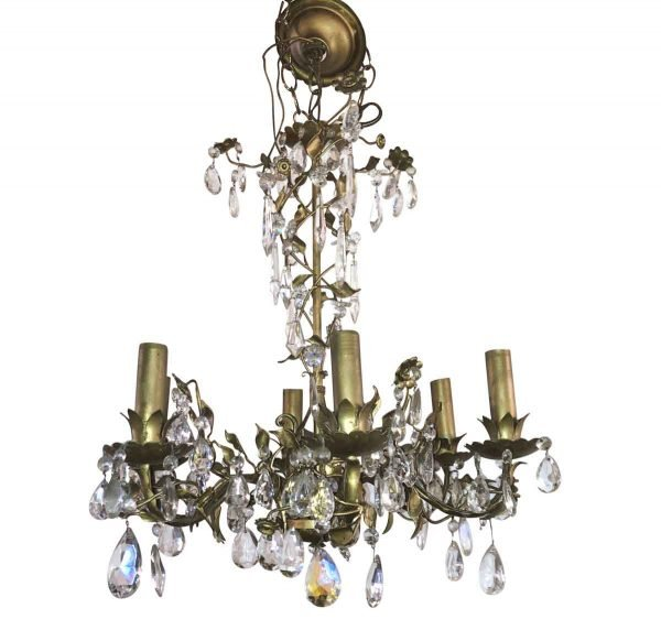 Chandeliers - Petite French 6 Arm Crystal & Brass Filigree Chandelier