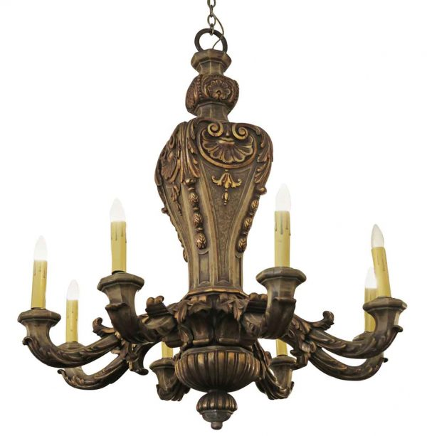Chandeliers - Restored Rococo 8 Arm Mahogany Gilded Wood Chandelier