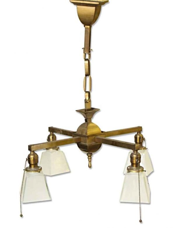 Chandeliers - Traditional 4 Arm Brass & Frosted Glass Chandelier