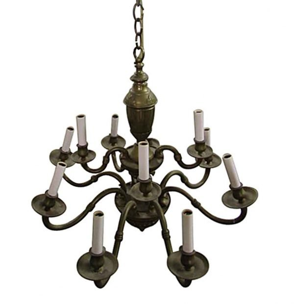 Chandeliers - Traditional Patina Brass 10 Arm Chandelier