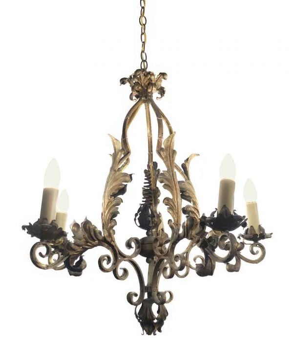 Chandeliers - Turn of the Century French 5 Arm Wrought Iron Chandelier
