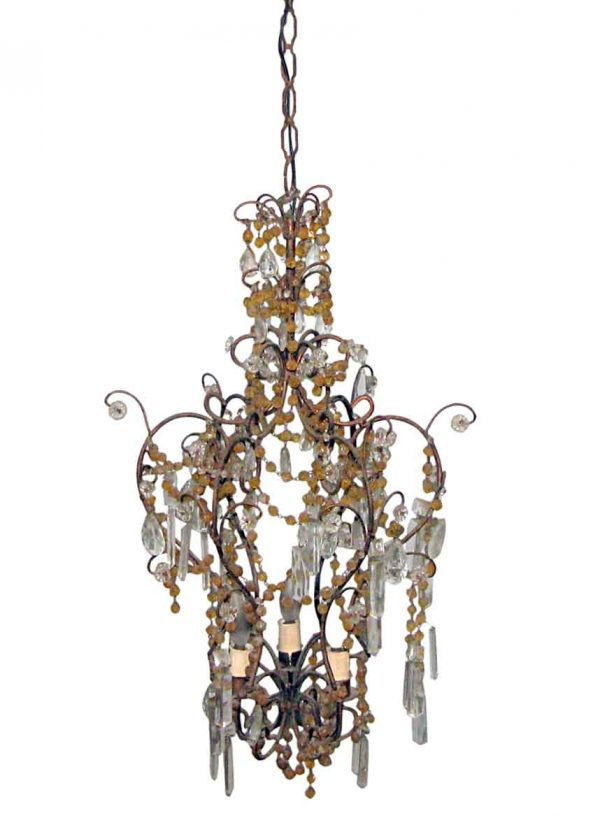 Chandeliers - Victorian 3 Arm Amber & Clear Crystal Chandelier