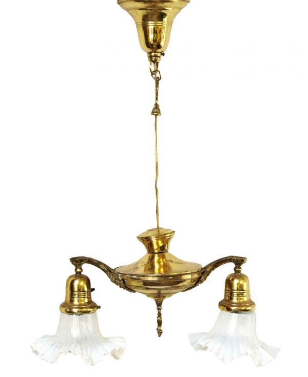 Chandeliers - Victorian Down Light Brass Chandelier with Glass Shades