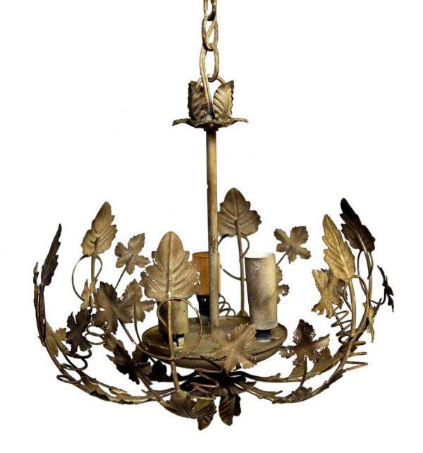 Chandeliers - Vintage 3 Light Pressed Metal Leafy Chandelier