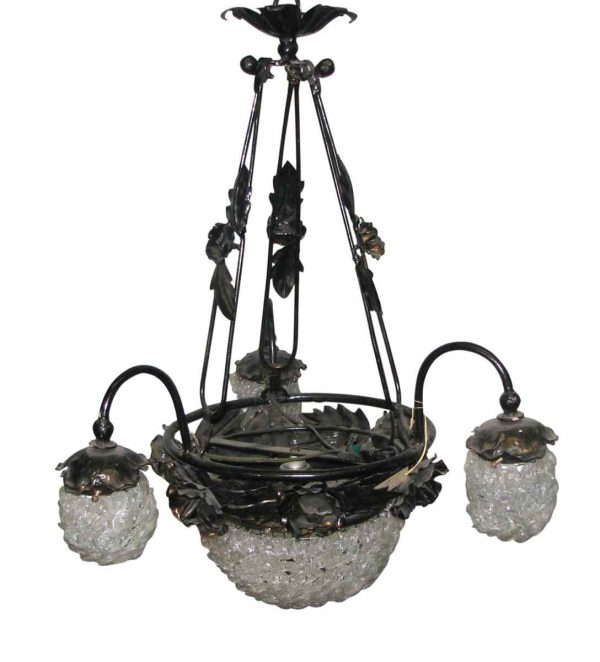 Chandeliers - Vintage French Floral Iron Beaded Chandelier