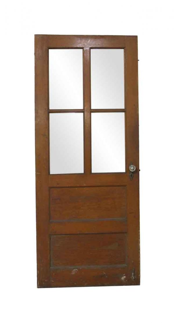 Commercial Doors - Antique 4 Lite Wood Commercial Door 76.875 x 31.75