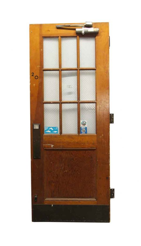 Commercial Doors - Old 9 Lite Oak Commercial Door 89.75 x 35.75