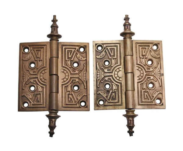 Door Hinges - Antique Aesthetic Bronze 4 x 4  Pair of Butt Door Hinges