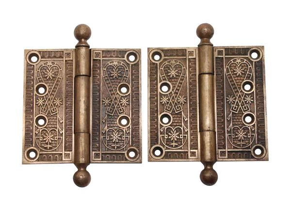 Door Hinges - Antique Victorian 4 x 4 Bronze Pair of Door Hinges
