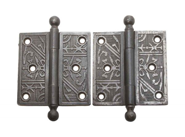 Door Hinges - Pair of 3.5 x 3.5 Cast Iron Antique Butt Door Hinges with Ball Tips