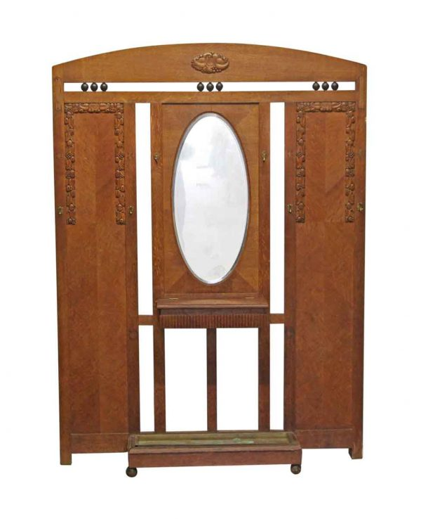Entry Way - Oak Art Deco Hall Tree with Beveled Mirror