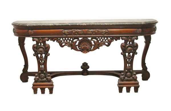 Entry Way - Rococo Carved Wood Entry Table with Black Marble Top