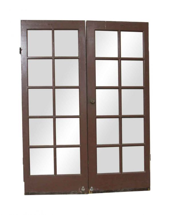 French Doors - Antique 10 Lite Swinging French Double Doors 80 x 59.625