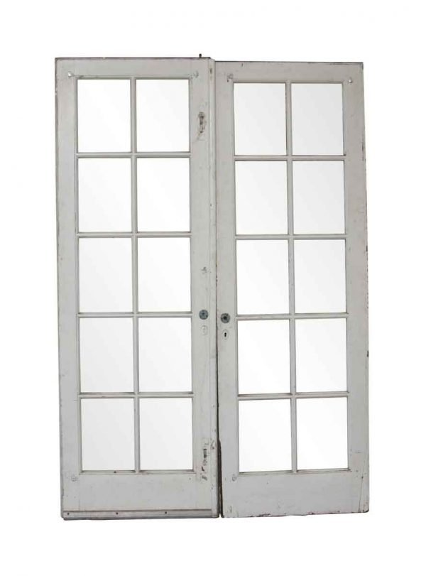 French Doors - Antique White 10 Lite Double French Doors 82.5 x 56