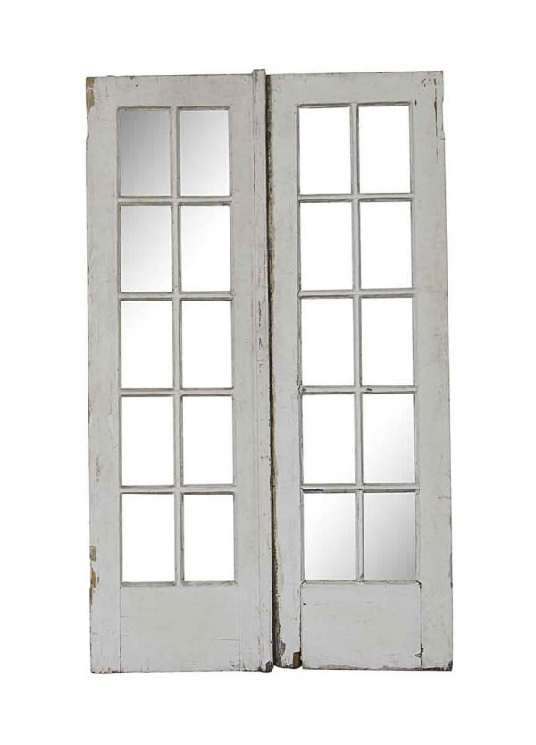 French Doors - Old 10 Lite Wood French Double Doors 79.25 x 48.25