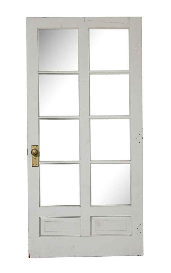 French Doors - Old 8 Lite White Wood French Door 79.25 x 38