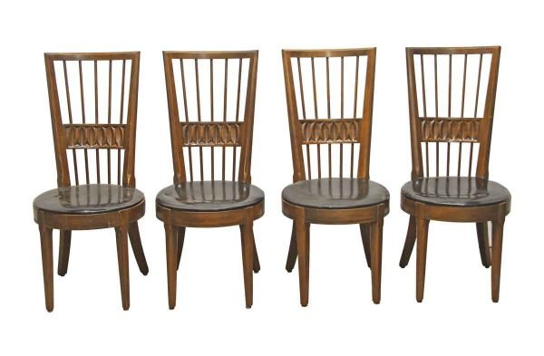 Kitchen & Dining - Set of Four Modern Carved Dining Chairs with Spindle Back