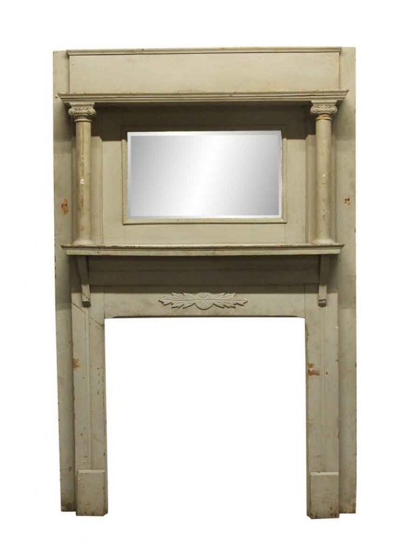 Mantels - Gray Distressed Wood Mantel with Beveled Mirror