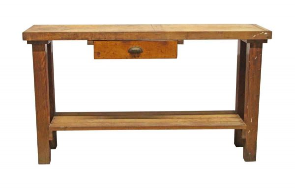 Office Furniture - Reclaimed Butcher Block 5 Foot Work Bench with Drawer