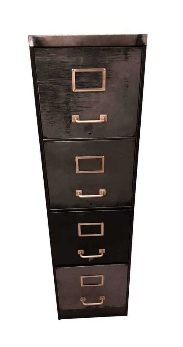 Office Furniture - Vintage Steel Filing Cabinet with Brass Handles