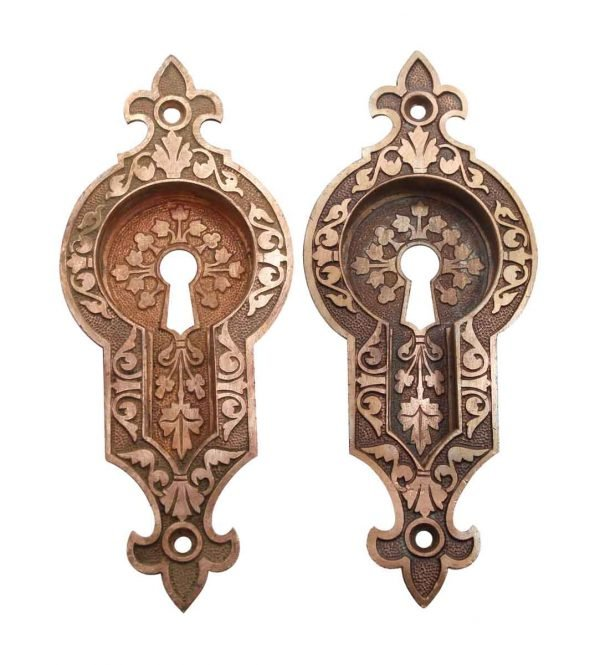 Pocket Door Hardware - Antique Aesthetic Bronze Pocket Door Plates